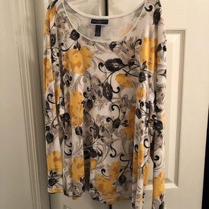 Long sleeved yellow/gray/black blouse 3X